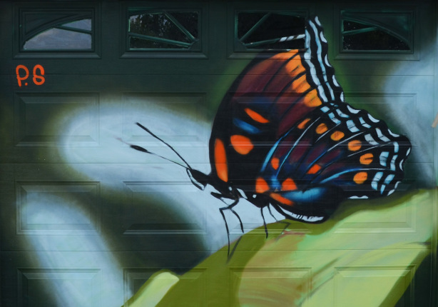 a mural on a garage door in an alley, part of butterflyways project - a black butterfly with orange and blue highlights, on a green leaf